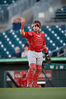 Palm Beach Cardinals catcher Jose Godoy (27) signals to the defense during a game against the Jupiter Hammerheads on August 4, 2018 at Roger Dean Chevrolet Stadium in Jupiter, Florida.  Palm Beach defeated Jupiter 7-6.  (Mike Janes/Four Seam Images)