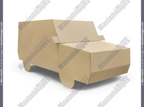 Cardboard box car model isolated on white background with clipping path