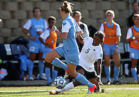 SAN DIEGO, CA - DECEMBER 02, 2012:  Katie Bowen (15) of the University of North Carolina tackles Maya Hayes (5) of Penn State University during the NCAA 2012 women's college championship match, at Torero Stadium, in San Diego, CA, on Sunday, December 02 2012. Carolina won 4-1.