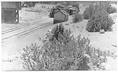 Hillside view of two passenger trains meeting at Embudo.<br /> D&amp;RGW  Embudo, NM  Taken by Rogers, Donald E. A. - 5/24/1939
