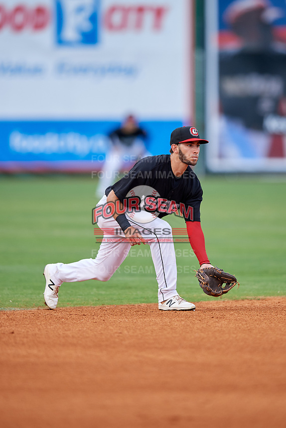 Chattanooga Lookouts shortstop Alex Perez (2) during a game against the Jackson Generals on May 9, 2018 at AT&T Field in Chattanooga, Tennessee.  Chattanooga defeated Jackson 4-2.  (Mike Janes/Four Seam Images)