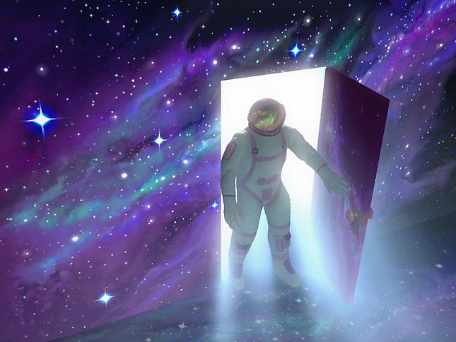 Astronaunt opening door in space