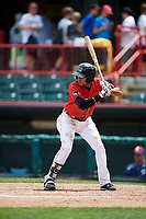 Erie SeaWolves second baseman Harold Castro (3) at bat during a game against the Reading Fightin Phils on May 18, 2017 at UPMC Park in Erie, Pennsylvania.  Reading defeated Erie 8-3.  (Mike Janes/Four Seam Images)