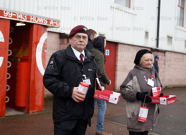 Veterans collecting for the Scottish Poppy Appeal outside Broadwood Stadium ahead of the Clyde v Rangers match