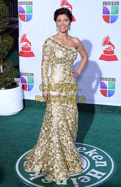 Chiquinquira Delgado.2011 Latin Grammy Awards Arrivals at Mandalay Bay Resort Hotel and Casino. Las Vegas, Nevada, USA..10th November 2011.full length white gold one shoulder print dress sleeve hand on hip.CAP/ADM/MJT.© MJT/AdMedia/Capital Pictures.