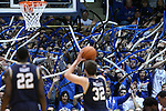 07 February 2015: Duke fans, or Cameron Crazies, try to distract Notre Dame's Steve Vasturia (32) as he shoots a free throw. The Duke University Blue Devils hosted the University of Notre Dame Fighting Irish at Cameron Indoor Stadium in Durham, North Carolina in a 2014-16 NCAA Men's Basketball Division I game. Duke won the game 90-60.