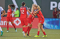 Portland, OR - Saturday August 19, 2017: Amandine Henry, Lindsey Horan celebrates a goal during a regular season National Women's Soccer League (NWSL) match between the Portland Thorns FC and the Houston Dash at Providence Park.