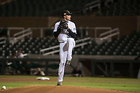 Salt River Rafters starting pitcher Ryan Castellani (38), of the Colorado Rockies organization, delivers a pitch during an Arizona Fall League game against the Peoria Javelinas at Salt River Fields at Talking Stick on November 7, 2018 in Scottsdale, Arizona. Peoria defeated Salt River 8-7. (Zachary Lucy/Four Seam Images)