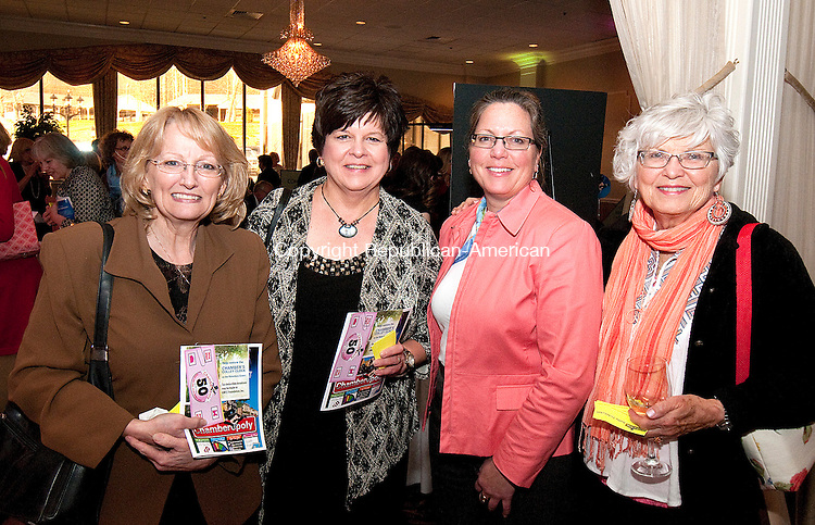 WATERBURY, CT--042415JS15- Pam Famiglietti of Middlebury; Diane Ploch of Oxford; Shelly Kophler of Bristol and Carol Krophler of Smithville, Texas, at the Waterbury Regional Chamber's 125th Anniversary Gala held  at La Bella Vista at the Pontelandolfo Club in Waterbury<br /> Jim Shannon Republican-American