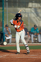 AZL Giants Orange Angel Guzman (2) at bat during an Arizona League game against the AZL Mariners on July 18, 2019 at the Giants Baseball Complex in Scottsdale, Arizona. The AZL Giants Orange defeated the AZL Mariners 7-4. (Zachary Lucy/Four Seam Images)