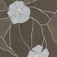 Raku Flower Small, a stone water jet mosaic, shown in Montevideo, Celeste, and Calacatta Tia, is part of the Ann Sacks Beau Monde collection sold exclusively at www.annsacks.com