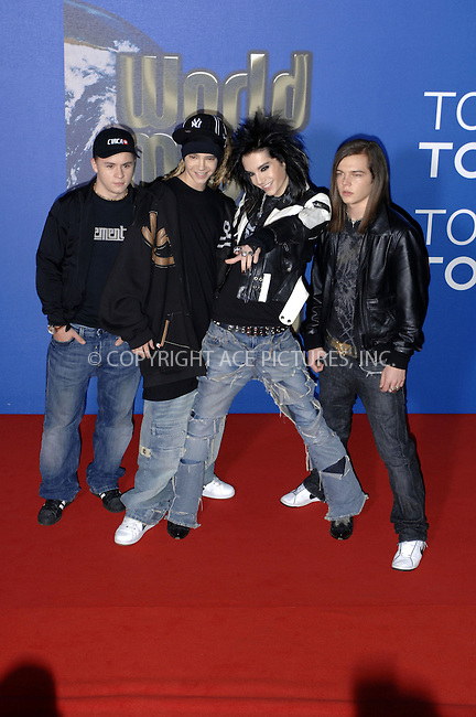 Tokio Hotel on the red carpet at the World Music Awards 2006 at Earls Court in London - 15 November 2006 ..FAMOUS PICTURES AND FEATURES AGENCY 13 HARWOOD ROAD LONDON SW6 4QP UNITED KINGDOM tel +44 (0) 20 7731 9333 fax +44 (0) 20 7731 9330 e-mail info@famous.uk.com www.famous.uk.com FAM19032