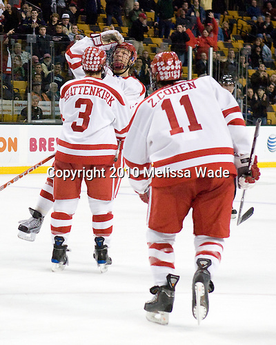 Kevin Shattenkirk (BU - 3), Alex Chiasson (BU - 9), Zach Cohen (BU - 11) - The Boston University Terriers defeated the Northeastern University Huskies 2-1 on Monday, February 1, 2010, in the first round of the 2010 Beanpot at the TD Garden in Boston, Massachusetts.