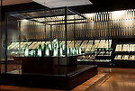 Photo shows bronze bells dating back around 2,000 years and excavated from the Kamo-Iwakura site and bronze swords from the Kojindani site on display at the Shimane Museum  of Ancient Izumo, which was designed by Maki Fumihiko,  in Izumo City, Shimane Prefecture, Japan on 05 Nov. 2012.  The bells are designated important cultural properties.  Photographer: Robert Gilhooly