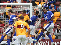 A high ball in the Everton box in the Motherwell v Everton friendly match at Fir Park, Motherwell on 21.7.12 for Steven Hammell's Testimonial.