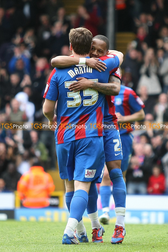 Nathaniel Clyne of Crystal Palace celebrates with goalscorer Chris Martin of Crystal Palace after making a terrific run to set up the goal- Crystal Palace vs Ipswich Town - nPower Championship Football at Selhurst Park, London - 14/04/12 - MANDATORY CREDIT: George Phillipou/TGSPHOTO - Self billing applies where appropriate - 0845 094 6026 - contact@tgsphoto.co.uk - NO UNPAID USE.