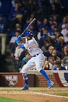 Chicago Cubs Dexter Fowler (24) bats in the sixth inning during Game 3 of the Major League Baseball World Series against the Cleveland Indians on October 28, 2016 at Wrigley Field in Chicago, Illinois.  (Mike Janes/Four Seam Images)