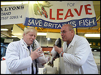 Image ©Licensed to i-Images Picture Agency. 22/06/2016. London, United Kingdom. Boris Johnson Vote Leave campaigning. The Former Mayor of London Boris Johnson is shown around Billingsgate Market by Greg Essex, Joey Essex uncle, at the start of his 12 Hour tour of the country for the Vote Leave Campaign, on the eve of the UK referendum.  Picture by Andrew Parsons / i-Images