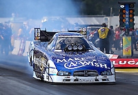 Aug 15, 2014; Brainerd, MN, USA; NHRA funny car driver Tommy Johnson Jr during qualifying for the Lucas Oil Nationals at Brainerd International Raceway. Mandatory Credit: Mark J. Rebilas-
