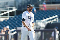 Peoria Javelinas relief pitcher Brandon Lawson (47), of the Tampa Bay Rays organization, walks off the field between innings of an Arizona Fall League game against the Glendale Desert Dogs at Peoria Sports Complex on October 22, 2018 in Peoria, Arizona. Glendale defeated Peoria 6-2. (Zachary Lucy/Four Seam Images)
