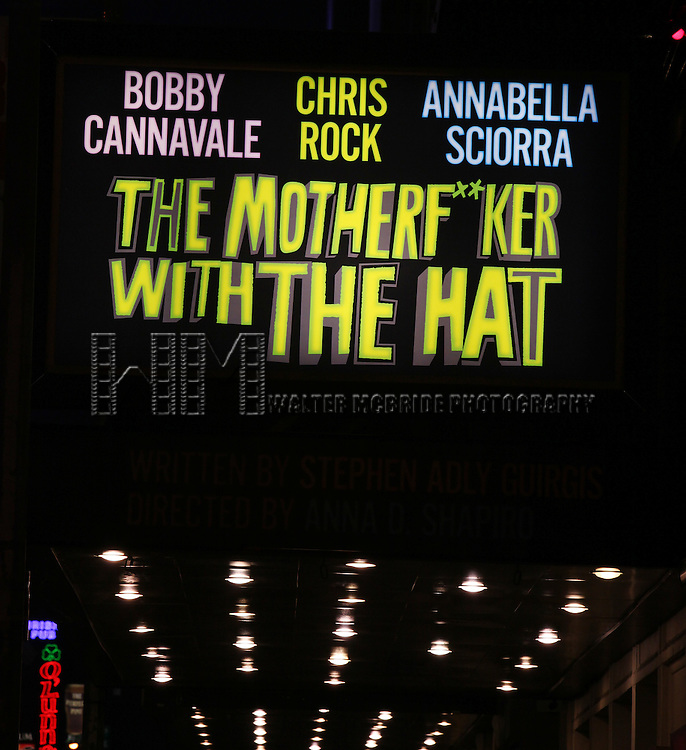 Annabella Sciorra, Bobby Cannavale, Elizabeth Rodriguez, Yul Vazquez & Chris Rock during The Broadway Opening Night Performance Curtain Call for 'The Mother F**ker with the Hat'  in New York City.