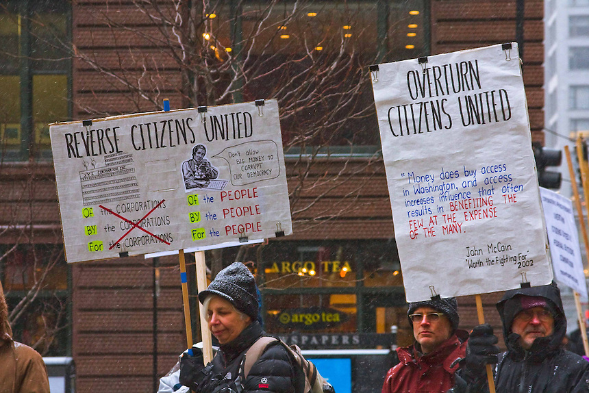 Scenes from a protest in Federal Plaza Chicago against Citizen's United Act which confers personhood on corporations and allows them to contribute as much money as they want to the candidates who support their views