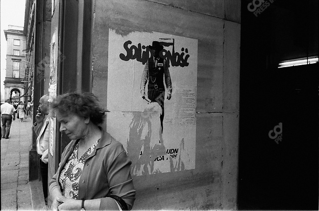 Solidarity poster in Warsaw at the time of the first free elections, Warsaw, Poland, August 1989