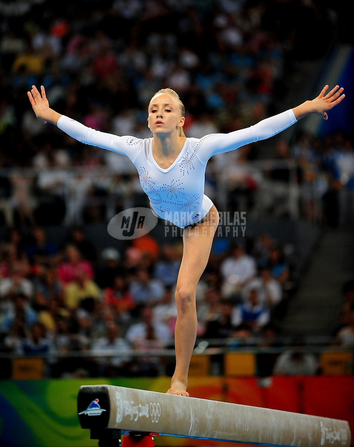 Aug. 19, 2008; Beijing, CHINA; Nastia Liukin (USA) competes on the balance beam during the gymnastics apparatus finals at the National Indoor Stadium during the 2008 Beijing Olympic Games. Mandatory Credit: Mark J. Rebilas-