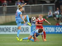Boyds, MD -Saturday August 26, 2017: Kristie Mewis, Danielle Colaprico, Tori Huster during a regular season National Women's Soccer League (NWSL) match between the Washington Spirit and the Chicago Red Stars at Maureen Hendricks Field, Maryland SoccerPlex.