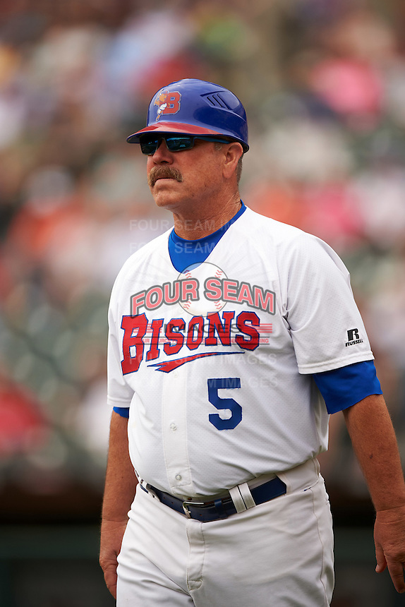 Buffalo Bisons manager Gary Allenson (5) during a game against the Louisville Bats on June 23, 2016 at Coca-Cola Field in Buffalo, New York.  Buffalo defeated Louisville 9-6.  (Mike Janes/Four Seam Images)