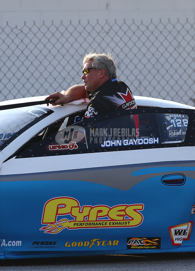 Aug. 30, 2013; Clermont, IN, USA: NHRA pro stock driver John Gaydosh during qualifying for the US Nationals at Lucas Oil Raceway. Mandatory Credit: Mark J. Rebilas-