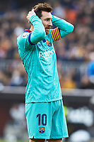 25th January 2020; Mestalla, Valencia, Spain; La Liga Football,Valencia versus Barcelona; Lionel Messi of FCB reacts to a missed scoring chance