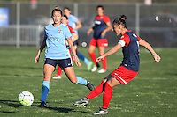 Piscataway, NJ - Sunday April 24, 2016: Defender Christine Nairn (7) of the Washington Spirit passes the ball away from Shawna Gordon (2) of Sky Blue.  The Spirit won the match, 2-1.