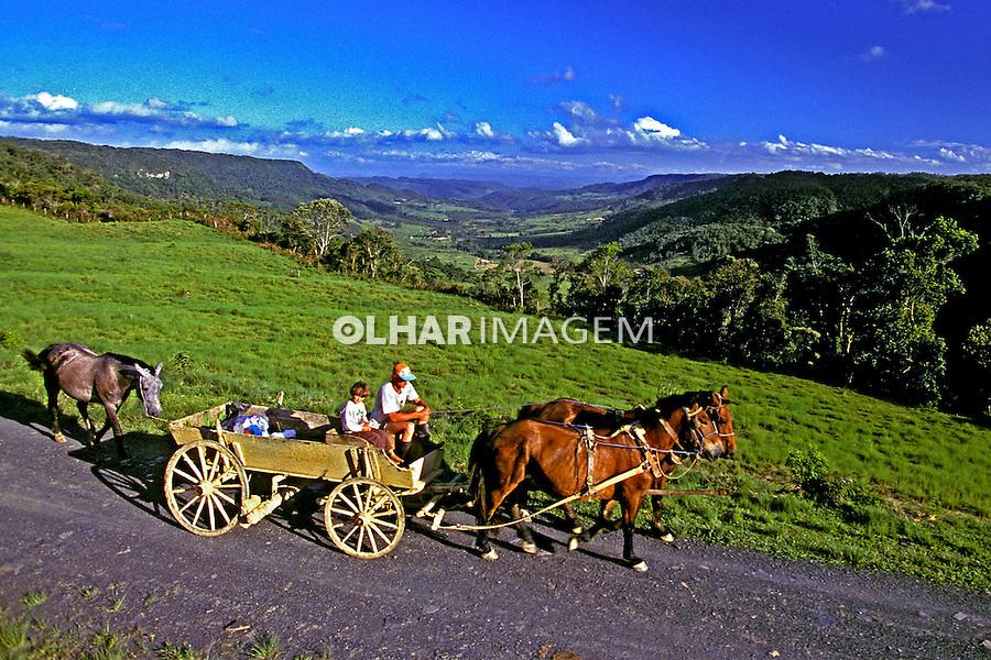 Transporte em carroça no Vale do Itajaí, Santa Catarina. 2000. Foto de Stefan Kolumban.