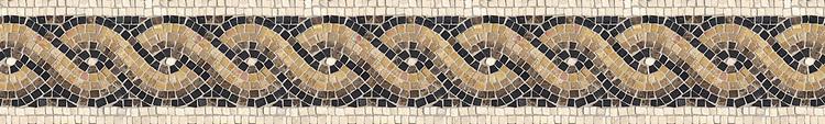 "6 1/4"" Athena Serpentine border, a hand-chopped stone mosaic, shown in tumbled Emperador Dark, Nero Marquina, Travertine White, Giallo Reale."