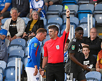 Referee Neil Hair  shows a yellow card to Wes Harding of Birmingham City right during Portsmouth vs Birmingham City, Caraboa Cup Football at Fratton Park on 6th August 2019
