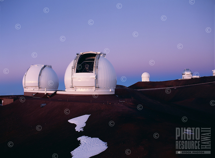 Keck Telescopes (left and center), Canada-France-Hawaii Telescope (right center) and Gemini North Telescope (right), Mauna Kea, Hawaii