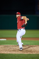 Syracuse Chiefs relief pitcher Austin L. Adams (12) delivers a pitch during a game against the Buffalo Bisons on September 2, 2018 at NBT Bank Stadium in Syracuse, New York.  Syracuse defeated Buffalo 4-3.  (Mike Janes/Four Seam Images)