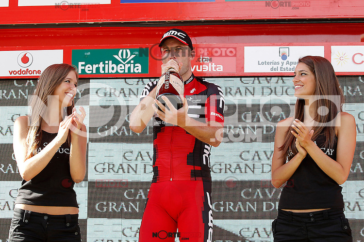 Stephen Cummings celebrates the victory in the stage of La Vuelta 2012 between Santiago de Compostela and Ferrol.August 31,2012. (ALTERPHOTOS/Acero)