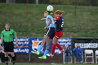 Piscataway, NJ - Sunday April 24, 2016: Sky Blue FC forward Tasha Kai (32) goes up for a header with Washington Spirit midfielder Victoria Huster (23). The Washington Spirit defeated Sky Blue FC 2-1 during a National Women's Soccer League (NWSL) match at Yurcak Field.