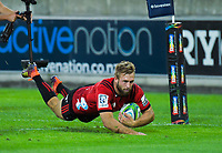 George Bridge scores during the Super Rugby match between the Hurricanes and Crusaders at Westpac Stadium in Wellington, New Zealand on Friday, 29 March 2019. Photo: Dave Lintott / lintottphoto.co.nz
