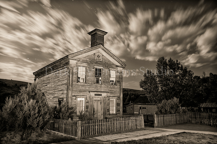 Bannack School House & Masonic Lodge - b/w