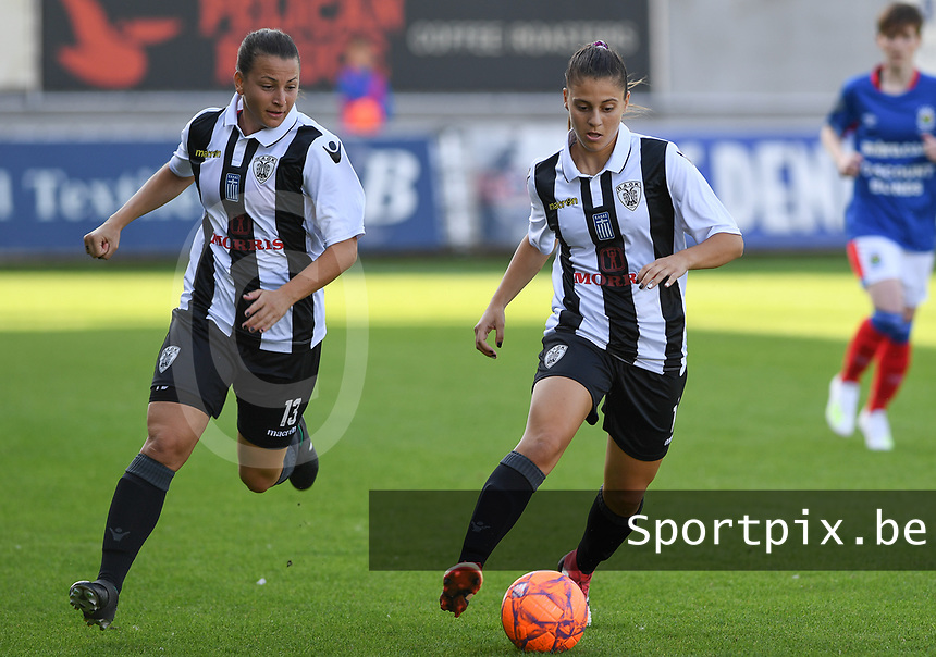 20190810 - DENDERLEEUW, BELGIUM : PAOK's Dimitra Karapetsa (r) pictured with PAOK's Chara Dimitriou (left) during the female soccer game between the Greek PAOK Thessaloniki Ladies FC and the Northern Irish Linfield ladies FC , the second game for both teams in the Uefa Womens Champions League Qualifying round in group 8 , Wednesday 7 th August 2019 at the Van Roy Stadium in Denderleeuw  , Belgium  .  PHOTO SPORTPIX.BE | DAVID CATRY