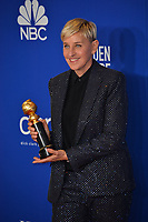 LOS ANGELES, USA. January 05, 2020: Ellen DeGeneres in the press room at the 2020 Golden Globe Awards at the Beverly Hilton Hotel.<br /> Picture: Paul Smith/Featureflash