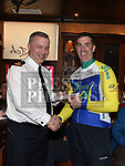 Superintendent Andrew Watters Chairperson of Drogheda Wheelers presents Niall Craven of Drogheda Wheelers Cycling Club with the prize for 2nd in A2 at the Peter Bidwell Memorial cycle at The Thatch Drogheda. Photo:Colin Bell/pressphotos.ie