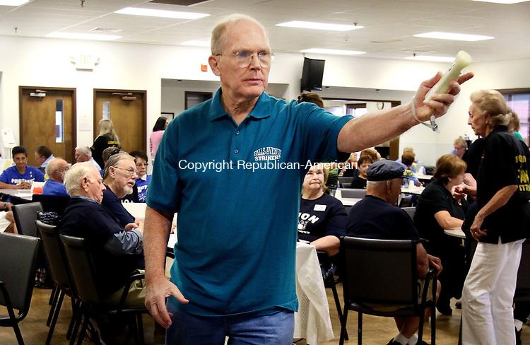 TORRINGTON CT. 26 July 2017-072617SV09-Joe Wichrowski of Watertown, Falls Avenue Senior Center, bowls during the annual Wii Bowling Invitation at the Sullivan Senior Center in Torrington Wednesday. <br /> Steven Valenti Republican-American