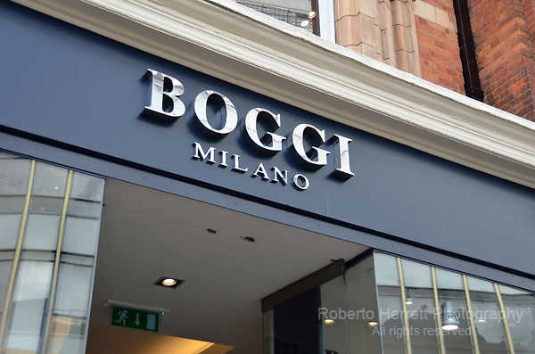 Boggi Milano meanswear shop in Sloane Square, Chelsea, London, UK