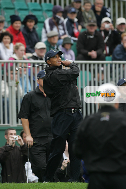 Ryder Cup K Club Straffin Co Kildare...American Ryder Cup Team Member Tiger Woods chipping onto the 3rd green during wednesday practice...Photo: Fran Caffrey/ Newsfile.