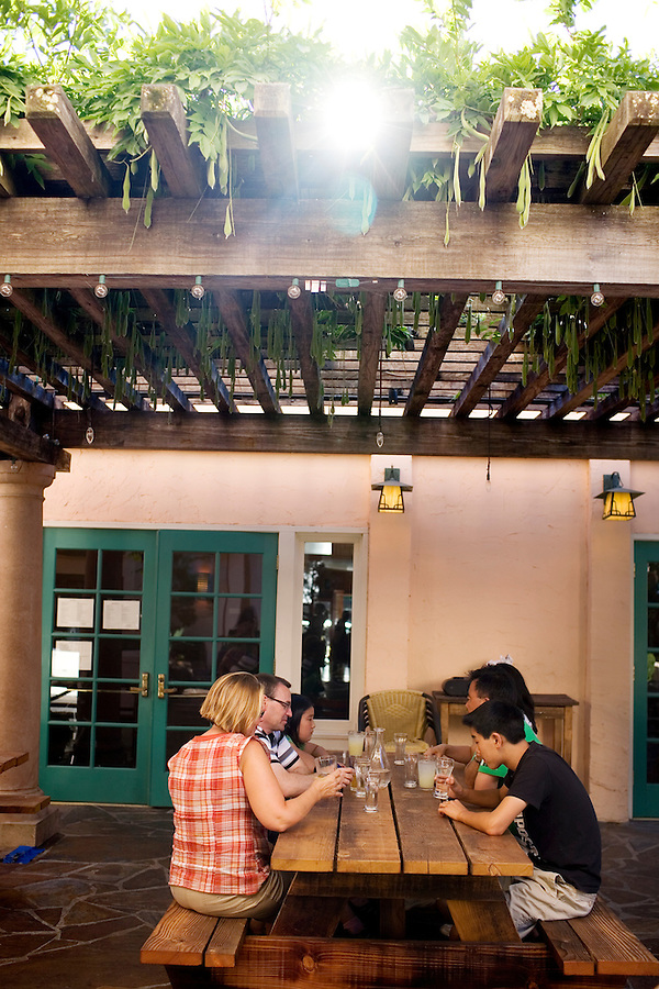 A group visiting from Toronto, Canada, wait for their order in the beer garden of Lokal, a restaurant near the historic Sonoma Plaza, that features Hungarian and Eastern European fare, including local and European beers, on Thursday, July 15, 2010. The restaurant opened four months ago.