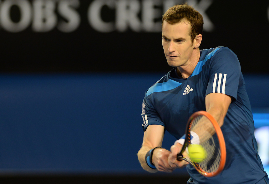 Andy Murray (GBR) [4]in action during his defeat by Roger Federer (SUI) [6] in their Men's Singles Quarterfinal match today - Roger Federer (SUI) [6] def Andy Murray (GBR) [4] 6-3 6-4 6-7(6) 6-3<br /> <br /> Photo by Gillian Elliott/CameraSport<br /> <br /> International Tennis - Australian Open - Day 10 Wednesday 22nd January 2014 - Melbourne Park - Melbourne, Victoria, Australia<br /> <br /> &copy; CameraSport - 43 Linden Ave. Countesthorpe. Leicester. England. LE8 5PG - Tel: +44 (0) 116 277 4147 - admin@camerasport.com - www.camerasport.com